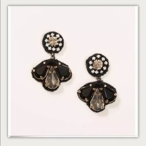 NWT LOFT Crystal Fabric Back Earrings black 359993